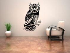 Owl Bird Floral Branch Wall Art Wall Sticker Decal Mural Stencil Vinyl Print | eBay