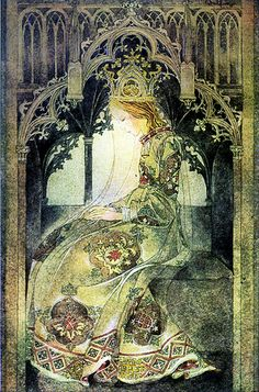 I love this classic portrayal of a Princess. Unfortunately, Princess Eiren lives in an industrial seaside town which has been stripped of its beauty.  Contemplative Princess ~ Sulamith Wulfing (1901-1989)