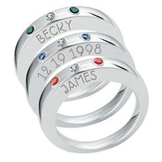 Best gift ever .... stacking rings with names, dates and birthstones .... one for each grandkiddo!!!