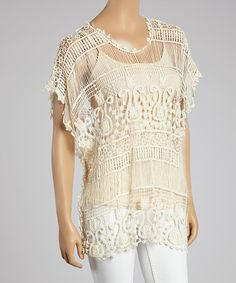 Look what I found on #zulily! Natural Beige Crochet Cape-Sleeve Top - Women by SR Fashions #zulilyfinds