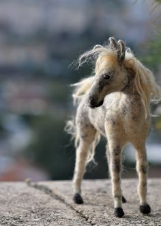 Needle felted horse--OOAK Collectible artist wool soft sculpture by Daria Lvovsky-Made to custom order