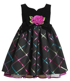 Black velvet bodice with sweetheart neckline, large bow with 3-D flower at waist and fun multicolor plaid skirt dress by Bonnie Jean - it's GORGEOUS! (available in sz.12m-16) #Christmas #holidays