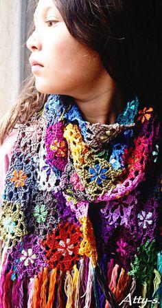 Leftover Flower Scarf Crochet Pattern