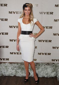 White dress, Thick Black Leather Belt, Black Peep Toe Heels