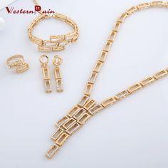 WesternRain Elegant Clear Rhinestone Crystal Bridal Wedding jewelry set A069