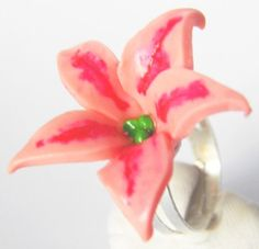Pink Lily Ring, Handmade, Disney Inspired, Pink Petals & Green Centre, Polymer Clay, Adjustable