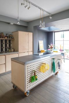 Sustainable Kitchens - Bespoke Kitchens across the UK Pegboard Plywood Kitchen with movable island and stainless steel worktop Kitchen Island Storage, Farmhouse Kitchen Island, Modern Kitchen Island, Kitchen Island Lighting, Kitchen Islands, Movable Island Kitchen, Rustic Kitchen, Pegboard Craft Room, Kitchen Pegboard