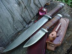 THE MOST BEAUTIFUL PAIR OF WOODSMAN/BUSHCRAFT/SURVIVAL EVER MADE! VG10 STEEL, HAND STACKED LEATHER. FALLKNIVEN NL NORTHERN LIGHTS THOR IDUN