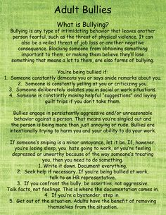 Interesting information and facts on adult bullying, its not just kids that get bullied, or are the bullies!
