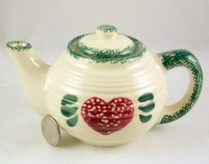 Small spongeware teapot for one red heart design hand painted - Other