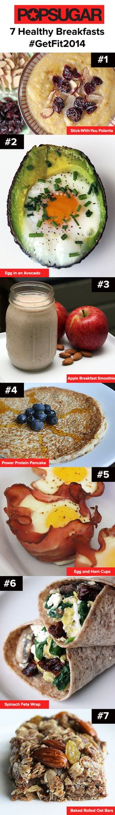 7 Day of Breakfast! Try a new breakfast every morning with these tasty, healthy, and nutritious options.