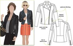 Fabulous fully lined biker jacket with zip features. Love to have a go at sewing a leather jacket.