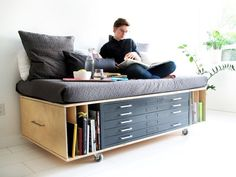 drawers, book shelf, and couch! Very efficient use of space :)