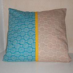 Housse de coussin (40x40 cm) en tissu turquoise et beige