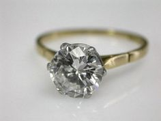 Diamond Solitaire antique engagement ring. LOVE.