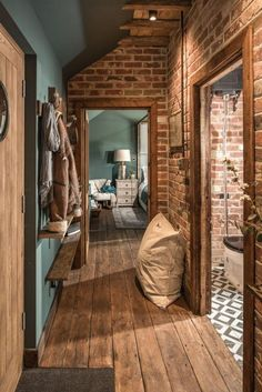 about the small house in the United Kingdom turquoise and wood and brick Traumhaus Warm Home Decor, Unique Home Decor, Future House, Home Design, Interior Design, Stone Interior, Modern Interior, Design Ideas, Sheltered Housing