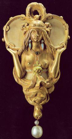 Art Nouveau Plique-à-Jour Enamel, Diamond, Pearl, Opal, and Gold Figural Pendant by Henri Vever, France