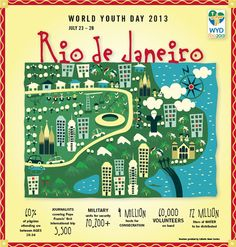 World Youth Day by the numbers World Youth Day, Christianity, Catholic, Rio, Summertime, Numbers, Around The Worlds, Faith, Board