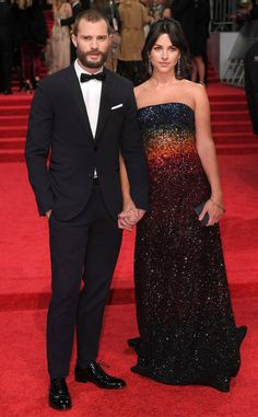 Jamie Dornan & Amelia Warner from 2017 BAFTA Film Awards: Red Carpet Arrivals  The handsome Fifty Shades Darker star arrives with his wife, who wears a rainbow-themed gown.