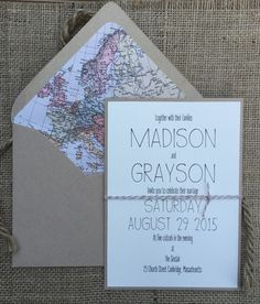 Modern Map Wedding Invitation Simple & Elegant von aLukeDesigns