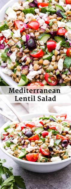 This Mediterranean Lentil Salad is a hearty salad thats perfect for lunch a side dish or even a vegetarian main dish. Full of cucumbers tomatoes olives feta and protein packed lentils. Youll absolutely love the flavors and textures in this healthy salad! Lentil Salad Recipes, Healthy Salad Recipes, Vegan Recipes, Cooking Recipes, Salad Recipes For Dinner, Recipes For Lentils, Salads For Lunch, Best Lentil Recipes, Healthy Vegetarian Recipes