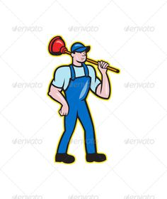 Plumber Holding Plunger Standing Cartoon  #GraphicRiver         Illustration of a plumber holding plunger standing facing front done in cartoon style on isolated background. Editable EPS8 (you can use any vector program), JPEG and Transparent PNG (can edit in any graphic editor) files are included.     Created: 12November13 GraphicsFilesIncluded: TransparentPNG #JPGImage #VectorEPS Layered: No MinimumAdobeCSVersion: CS Tags: artwork #cartoon #handyman #holding #illustration #male #man…