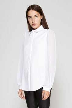 MM6 Maison Margiela   Fluid Sheer Sleeve Shirt   MYCHAMELEON.COM.AU