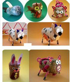 Diferentes animales hechos con tapones de corcho.