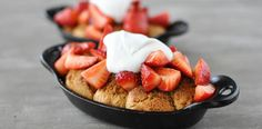 These Paleo strawberry shortcake skillets feature sweet, grain-free drop biscuits topped with macerated strawberries and whipped coconut cream. Drop Biscuits, Breakfast Biscuits, Paleo Breakfast, Breakfast Casserole, Paleo Sweets, Paleo Dessert, Blueberries, Fed And Fit, Dessert