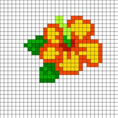 Hibiscus Perler Bead Pattern | Bead Sprites | Simple Fuse Bead Patterns