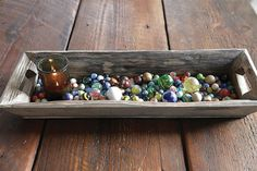 """Use this rustic weathered wooden tray to create a beautiful vignette in your home. 21-1/2""""L x 8""""W Decorative Wood Tray"""