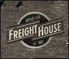 Creative Kansas, City, Freight, House, and Architecture image ideas & inspiration on Designspiration Logo Pub, Logo Sign, Painted Brick Walls, Wall Logo, Sign Writing, Faux Brick, Old Wall, Signage Design, Branding Design