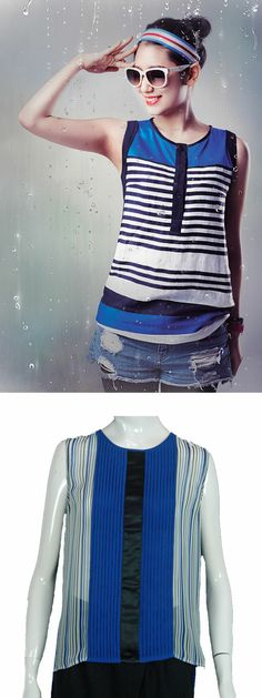 #ParkShinHye (from #TheHeirs fame) in a cool & relaxed striped tank top.  Our take on Park Shin Hye's top. Her's has horizontal stripes, ours' has vertical detailing, making us all look 5 pounds slimmer. Find this top at http://veilshop.com.sg/products/proddetail.aspx?ID=88&CateID=27&Page=