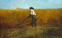 Winslow Homer piece painted just after the death of Lincoln. The painting makes you feel that you are next in line to cut down the wheat. Great painting!