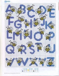 Bees alphabet cross stitch pattern a-z cross stitch letters, cross stitch baby Cross Stitch Letters, Cross Stitch Baby, Cross Stitch Animals, Cross Stitch Charts, Embroidery Alphabet, Embroidery Patterns, Stitch Patterns, Cross Stitching, Cross Stitch Embroidery