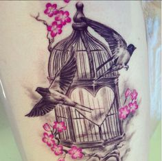 fuckyeahtattoos: My cherry blossom birdcage on my right thigh. Done by Marius at vivid ink, Birmingham city centre.