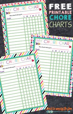 Free Printable Chore Charts for Kids: Three Designs Perfect to laminate and use with dry erase for a super simple chore system. Free Printable Chore Charts, Chore Chart Kids, Free Printables, Chore List For Kids, Reward Charts For Kids, Reward System For Kids, Weekly Chore Charts, Password Printable, Family Chore Charts