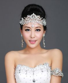 Princess Bridal Wedding Crystal Rhinestone Head Piece Crown Headband Tiara 5628