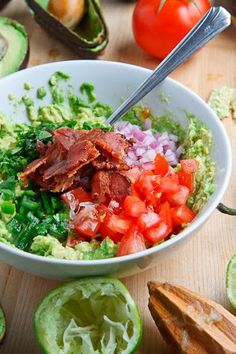 Bacon Guacamole  Primal Super Bowl Food  Making Triangle Primal Crackers to dip in it!