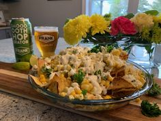 Frank Brewing Company Smooth Hoperator Pale Ale with Street Corn Nachos. Beer Store, American Dishes, Street Corn, Mexican Food Recipes, Ethnic Recipes, Complete Recipe, Frozen Corn, Backyard Bbq