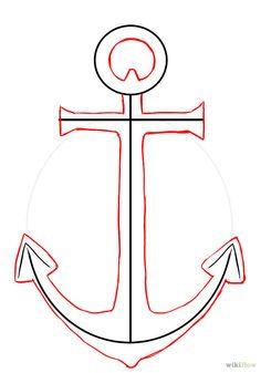 Draw an anchor Anchor Crafts, Anchor Art, Anchor Signs, Anchor Pictures, Simple Pictures, Anchor Drawings, Art Drawings, Diy Canvas, Canvas Art