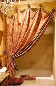 DIY-- instead of shower rod, use pretty hooks and tie back curtain when not in use. LOVE this for an arch so the shower rod doesn't look out of place Decor, Home Projects, Interior, Home Improvement, Home Decor, Curtains, Home Deco, Shower Rod, Beautiful Bathrooms