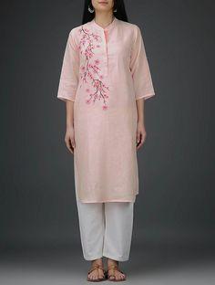 Pink Roll-Up Sleeve Embroidered Linen Kurta Embroidery On Kurtis, Kurti Embroidery Design, Embroidery Suits, Embroidery Fashion, Kurta Designs, Blouse Designs, Stylish Dresses, Nice Dresses, Khadi Kurta