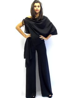 Black Jumpsuit / Dress Jumpsuit / Asymmetric Jumpsuit / Jumpsuit Women TJ01 on Etsy, $86.52 CAD