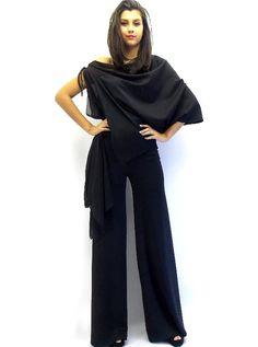 Black Jumpsuit / Dress Jumpsuit / Asymmetric Jumpsuit / Jumpsuit Women TJ01 on Etsy, $86.52 CAD