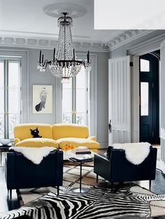 J.Crew creative director JENNA LYONS home | yellow soar | zebra + shearling + beni-ourain floor coverings
