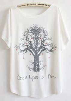 I love trees! Comfy Hearts and Trees White Loose Fitting Cotton T-Shirt ... I would definitely wear this over leggings or as a nightshirt! #Hearts #Trees #Tshirt #Fashion