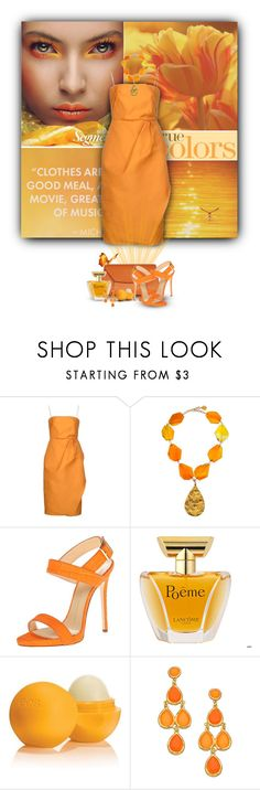 """""""Color My World"""" by jenalind ❤ liked on Polyvore featuring Carven, Devon Leigh, Valextra, Giuseppe Zanotti, Lancôme, Eos and Blu Bijoux"""