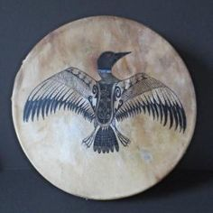 Loon Calls for Glooscap; Drum by Gina Brooks, Maliseet Loon Tattoo, Native American Tribes, Native Americans, Gourd Art, Native Art, Ceramic Painting, Zentangle, Painted Furniture, Drums