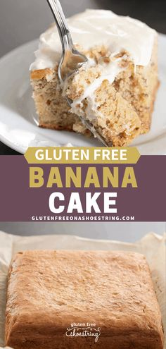 Tender and moist gluten free banana cake that's made easily in one bowl with a rice flour blend, and a sweet cream cheese frosting. There's even a lighter option if you're counting calories! Gluten Free Deserts, Gluten Free Sweets, Gluten Free Cakes, Foods With Gluten, Gluten Free Cooking, Dairy Free Recipes, Low Sugar Cakes, Gluten Free Banana Bread, Dairy Free Eggs